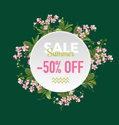 Summer sale tropical flowers banner vector