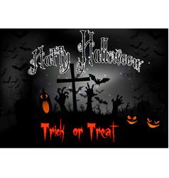 Halloween night with pumpkins and bats vector