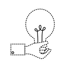 dotted shape businessman hand with bulb idea vector image