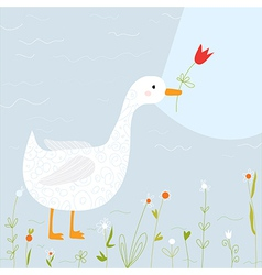 Spring greeting card with goose and flowers vector