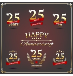 Twenty five years anniversary signs collection vector