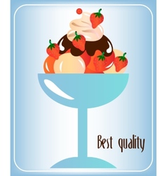 Sundae with whipped cream vector