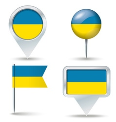 Map pins with flag of ukraine vector
