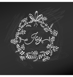 Retro Christmas Card - Christmas Wreath vector image