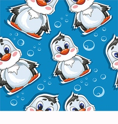 Cute penguin pattern design vector