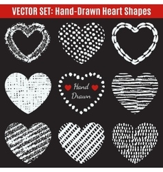 Set of hand-drawn textures heart shapes vector