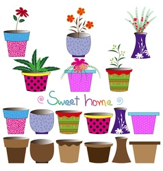 Set of colorful flowerpots vector