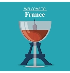France design eiffel tower and glass of wine vector