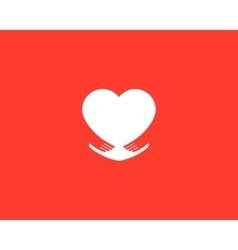 Abstract heart embrace logotype care symbol love vector