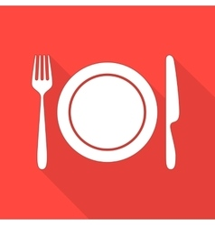 Plate with cutlery and long shadows vector