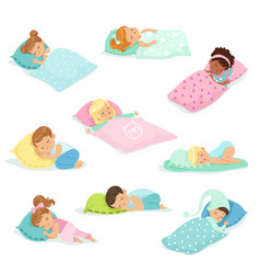 adorable little boys and girls sleeping sweetly in vector image vector image