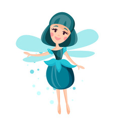 beautiful fairy with wings long hair and dress in vector image vector image