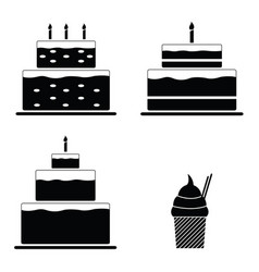 birthday cakes icon set vector image vector image
