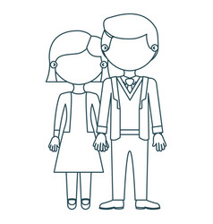 blue contour faceless couple woman with short hair vector image vector image