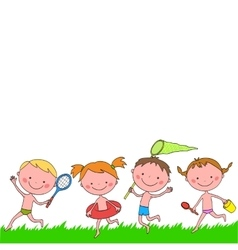 Boys and girls with items running on the grass vector