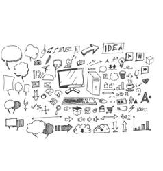 Business doodles sketch vector image