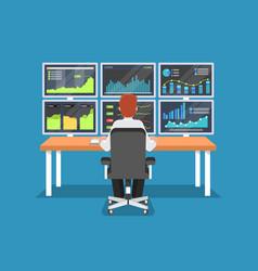 Businessman or stock market trader working at desk vector
