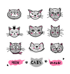 cats faces hand drawn doodle cats icons vector image