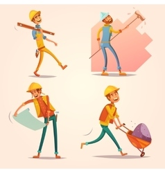 Construction builder retro cartoon icons set vector