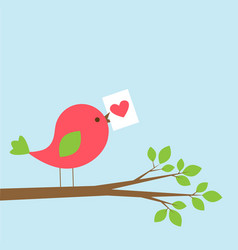 cute bird with valentine card on branch vector image vector image