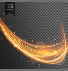 dynamic gold wave with sparkles on transparent vector image vector image