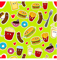 fast food love seamless emoticons vector image vector image