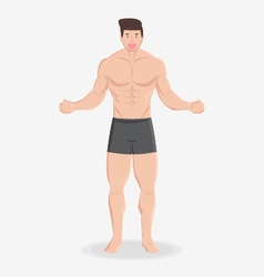Fitness muscular healthy man stand and smile vector