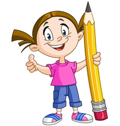 girl holding big pencil vector image