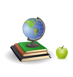 Globe books and green apple on a white background vector