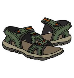 green sport sandals vector image vector image