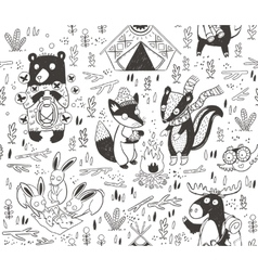 Hand drawn camping seamless pattern with cartoon vector image vector image