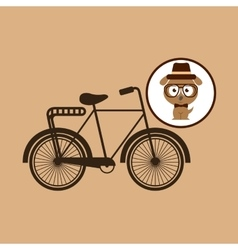 Hipster dog symbol bicycle design vintage vector
