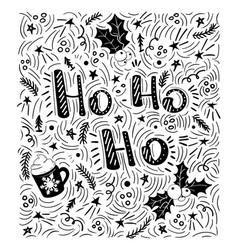 ho-ho-ho - handdrawn handwritten vector image vector image