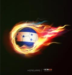 Honduras flag with flying soccer ball on fire vector