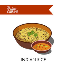 Indian rice in deep bowl with spicy sauce vector