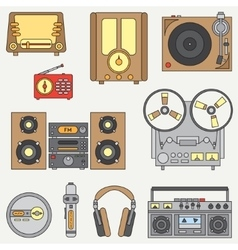 Line flat icon set with retro electrical vector