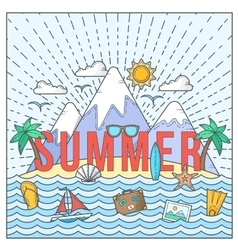 Line style flat color summer card or vector