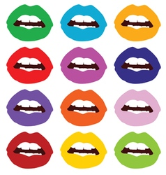 lips set color vector image vector image