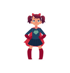 Little girl in superhero costume and devil horns vector