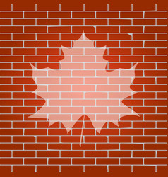 Maple leaf sign whitish icon on brick vector