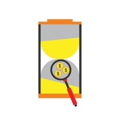 Modern flat icon stylish hourglass and coins vector