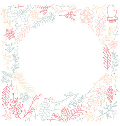 Multicolored filigree ornament circle frame sketch vector