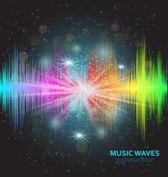 music waves background rainbow sound music vector image vector image