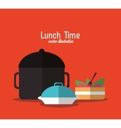 Plate cake pot lunch time menu icon vector