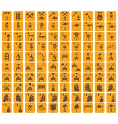 Set of camp cooking icons vector