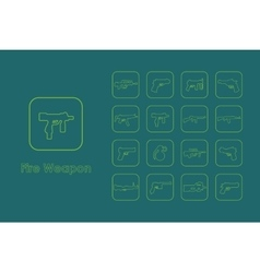 Set of fire weapon simple icons vector