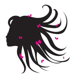 silhouette of woman with long hair vector image vector image