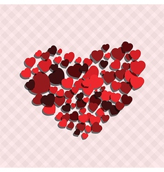 Small red hearts create big heart vector