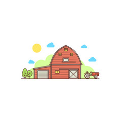 Thin line american farm icon vector