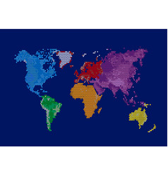 world continents map - dots style vector image vector image